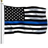 G128 – Thin Blue Line Flag | 3x5 feet | Printed – Blue Stripe, Black & White Flag, Vibrant Colors, Brass Grommets, Quality Polyester