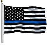 G128 – Thin Blue Line Flag | 3x5 feet | Printed – Blue Stripe, Black & White Flag, Vibrant Colors, Brass Grommets, Quality Polyester