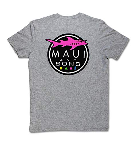 Maui & Sons Men's Casual Short Sleeve Shark Logo T-Shirts (Heather Grey, Large)