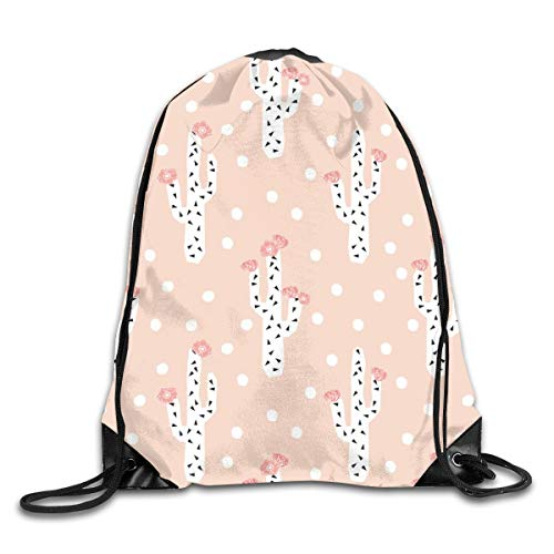 Cactus Floral Peach Blush Girls Cactus Flowers Cute Cactus Design Drawstring Gym Bag for Women and Men Polyester Gym Sack String Backpack for Sport Workout, School, Travel, Books 14.17 X 16.9 inch