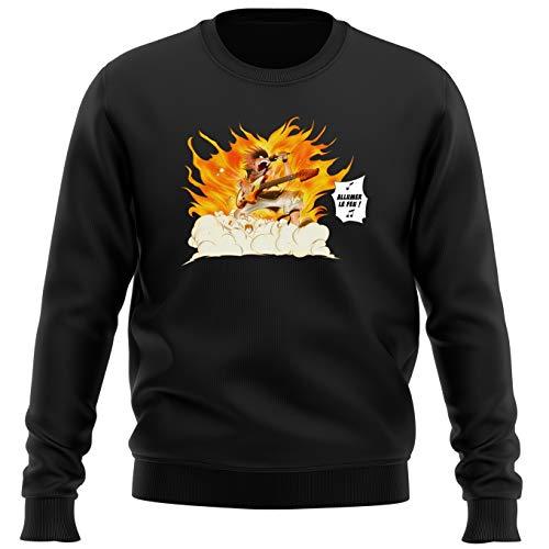 Okiwoki Pull Noir Parodie Fairy Tail - Natsu - Allumer Le Feu !! (Sweatshirt de qualité Premium de Taille XXL - imprimé en France)