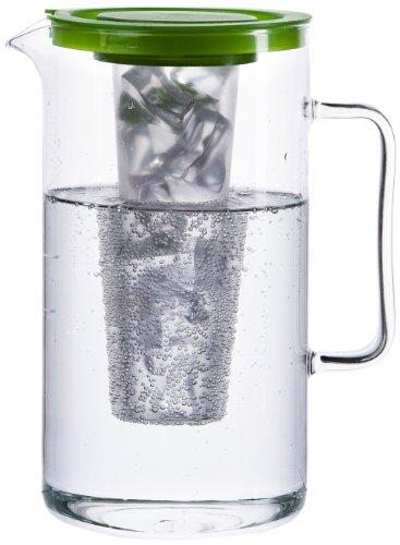 Bohemia Cristal 093 006 058 SIMAX Krug ca. 2,5 ltr. aus hitzebeständigem Borosilikatglas mit Eiswürfeleinsatz aus Kunststoff und Kunststoffdeckel grün