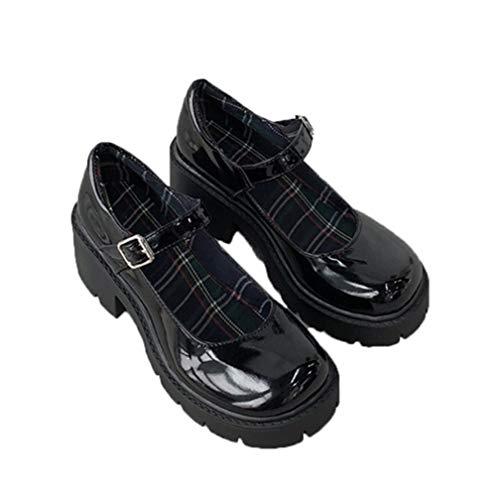 Vintage Mary Jane Schuhe für Frauen Gothic Lolita Pu Leder Chunky Pumps im japanischen Stil Mode Schnallenriemen Plattform High Heels