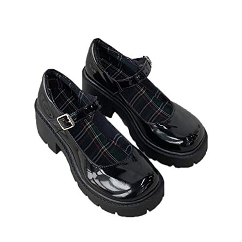 Vintage Mary Jane Shoes for Women Gothic Lolita Pu Leather Chunky Décolleté Tacchi Alti con Fibbia in Stile Giapponese