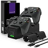 Fosmon Quad Pro 2 Cargador Compatible con Mando Xbox Series X/S, Xbox One/One X/One S Elite Controller, Doble Estación + 2 Cargador de Batería Estación con 4 x 2200mAh Batería Recargable - Negro