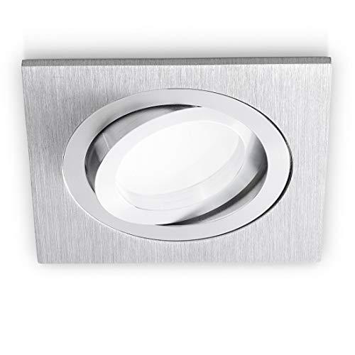 Faretto Incasso Gea Led Gfa040 Gu10 Led Ip20 Orientabile Alluminio Spazzolato Bianco Nero Opaco Spot Cartongesso Quadrato, Alluminio spazzolato