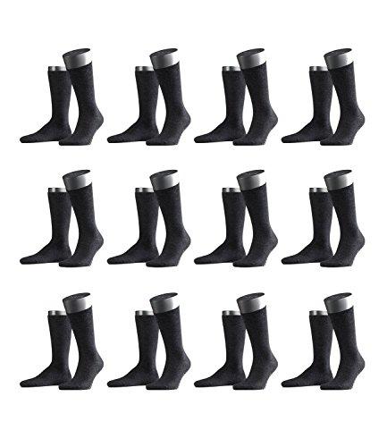 FALKE Herren Business-Socken Swing 14633 12 Paar, Farbe:Grau;Sockengröße:43-46;Artikel:-3080 anthracite mel.