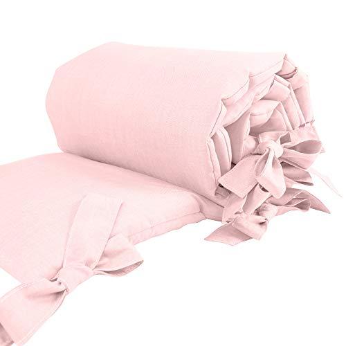 Sugarapple Nestchen Bettumrandung für Beistellbetten, Kopf- und Kantenschutz für Babybeistellbetten, Bettnestchen Maße: 170 x 25 cm, Uni Rosa