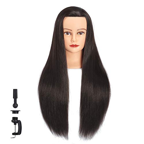 Hairginkgo Mannequin Head 26'-28' Super Long Synthetic Fiber Hair Manikin Head Styling Hairdresser Training Head Cosmetology Doll Head for Cutting Braiding Practice with Clamp (91812LB0220)
