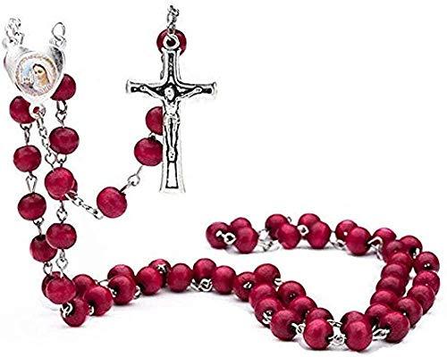 Liuqingzhou Co.,ltd Collar Hombres Collar Rojo 6Mm Madera con Collar Perfumado Collar de Oración Rosario de Oración Collar de Joyería de Cuentas Religiosas Joyería de Jesús