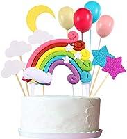 Zonon Cupcake Topper Set, Includere Palloncino a Forma Arcobaleno Nuvola Luna Stella Cupcake Topper Bastoncini per...