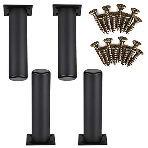 YuBao 4 × meubelkast metalen poten, zwart, roestvrij staal keukenpoten, rond, stille accessoires, sofavoeten, tv-kast, voeten, tafelpoten, rubberen mat