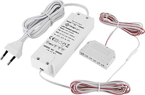 12V MINI-AMP - LED Trafo Netzteil 24W - mit EURO-Stecker + 6-fach-Verteiler (MINI-AMP Buchsen) - 3x 2m Kabel - weiß