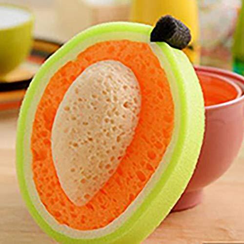 Gamuza para lavar platos, forma de fruta, lumpas, espesa cincel, esponja, detergente para cocina, limpieza de vajilla, color D