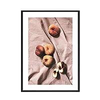 LIUYUEKAI 北欧のシンプルなスタイルの熱帯植物ポスター桃キャンバス絵画写真壁アートキッチンリビングルーム家の装飾-40x60cmフレームなし
