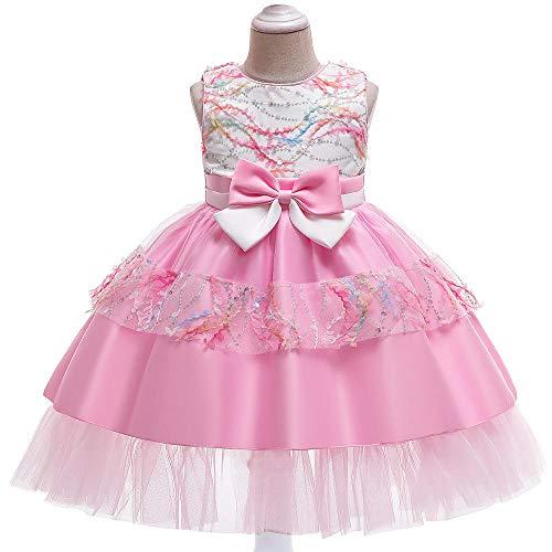 Anoauit Vestido de Princesa para nias Falda de tut de Encaje Vestido de Noche de cumpleaos para nios Falda Vestido de Novia para Fiesta de Navidad Vestido de Fiesta Fotografa-Rosa_El 140cm
