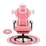 Pink Gaming Chair with Footrest Ergonomic Office Chair Desk Chair Computer Chair with Massage Gamer Chair Silla Gamer Office Chairs for Heavy People with Mat,Pink
