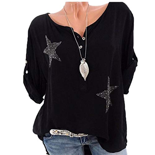 Ywoow Women O-Neck Long Sleeve Button Stars Star Hot Drill Plus Size Tops Blouse Blouses Sets top