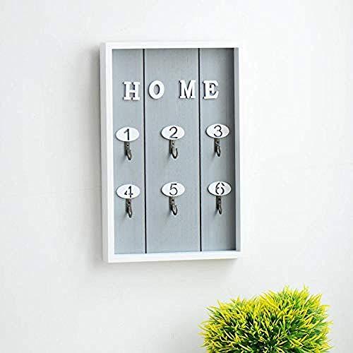 Colgante de almacenamiento Rack de madera Caja de llaves de madera Teclas de pared Gabinete de gancho Decoraciones para el hogar-Gris