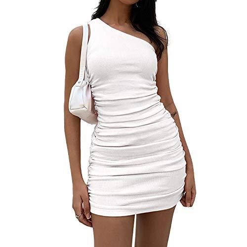 DREAM SLIM-Women's Sexy One Shoulder Sleeveless Stretchy Ruched Club Dress Bodycon Ribbed Knit Mini Dress (White, Medium)