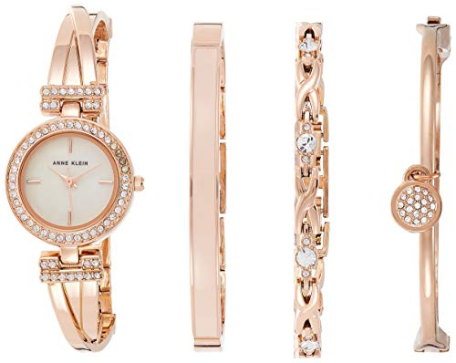 Anne Klein Women's Swarovski Crystal-Accented Rose Gold-Tone Watch and Bracelet Set, AK/2238RGST