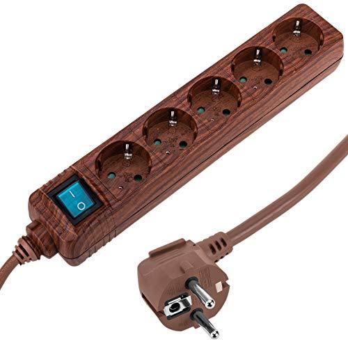 Cablematic. FR–Multipresa 5Prese 16A 230V Legno con Interruttore e 1.5M Cavo