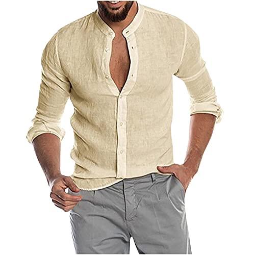 YingeFun - Camisas casuales con botones para hombre, manga larga, ajuste regular, para playa, yoga, casual, verano, Cobertura total, M, Caqui