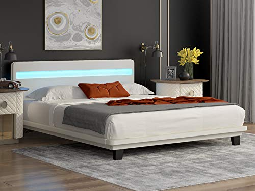Mecor Modern Full Size LED Bed Frame, White Upholstered Faux Leather Bed with 8 Color Changing LED Lights Headboard, Solid Wooden Slats Support - No Box Spring Needed - White / Full