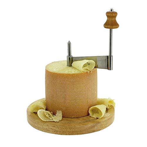 TheKitchenette 5040051 - Rodillo y rascador para Queso con Campana, Madera, Natural, 18,5 x 18,5 x 13 cm