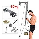 Tricep Workout Machine Equipment Wall-Mounted Cable Pulley System with Loading Pin for LAT Pull...
