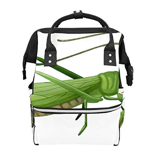 Grüner Grashüpfer Heuschrecken Insekten Schulrucksack Großes Fassungsvermögen Mumien-Taschen Laptop Handtasche Casual Reise-Rucksack für Damen Herren Erwachsene Teenager Kinder