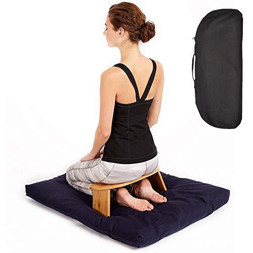 "Yclty Bamboo Meditation Bench (18' W x 7.5""L), Portable Seiza Kneeling Stool, Detachable..."
