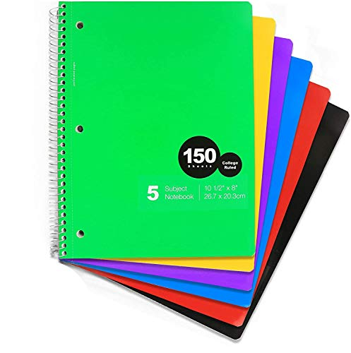 Emraw 5 Subject Spiral Notebook 150 Sheets College Ruled Wire Binding Meeting Notebook Durable Laminated Cover Assorted Color Wire Bound Double Sided Paper Small Notebook (6-Pack)