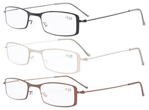 Eyekepper - 3 pares de Gafas de lectura - Modelo Unisex - Marco de acero inoxidable Multicolor Mix
