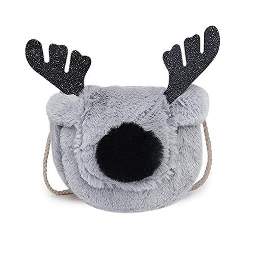Cute Handbag Reindeer Plush Crossbody Bag Christmas Purse Chic Wallet Small Shoulder Bags for Girls Women (Grey)