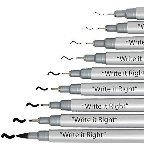 Black Micro-Pen Fineliner Pigment Pens -Set of 9 Archival Ink Waterproof Brush & Calligraphy Tip...