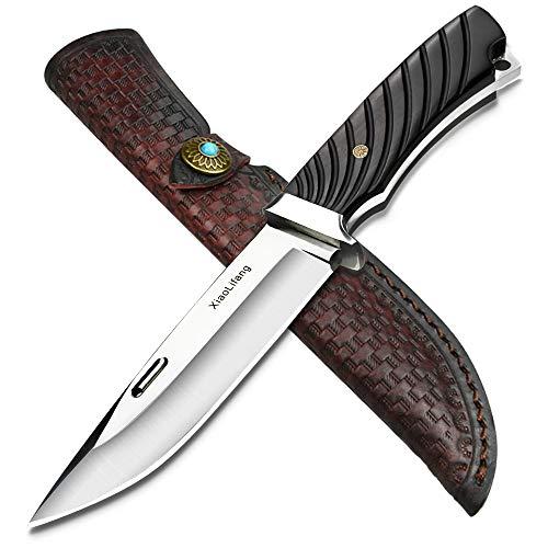NedFoss Jagdmesser scharf Xiaolifang, Survival Messer aus D2 Stahl, Scharfer D2 Messer mit Exquisite Ledertasche, Ebenholzgriff, Härte ist 59-60HRC, Extra scharf