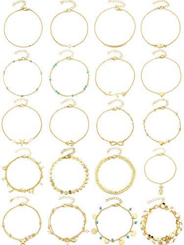 20 Stücke Boho Fußkettchen Ketten Armbänder Frauen Einstellbare Strand Fußkettchen Fußschmuck Set für Mädchen (Gold)