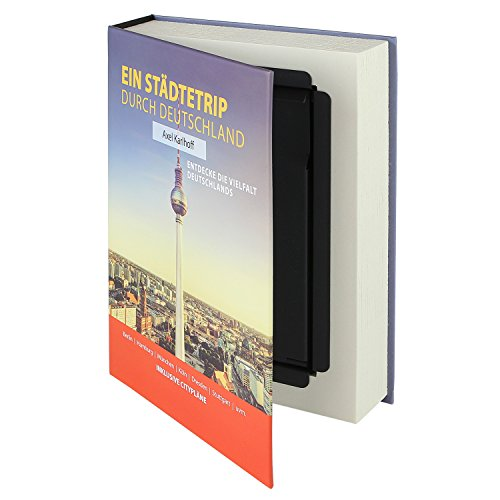 HMF 80915 Buchtresor Geldkassette Papierseiten | 23 x 15 x 4 cm | Städtetrip Deutschland