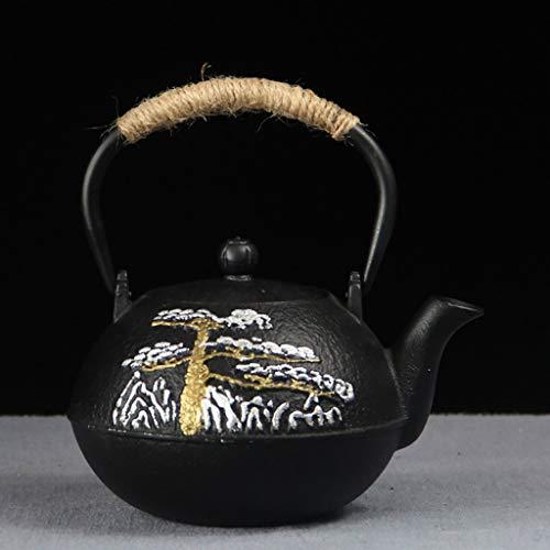 Tetera Teapot Tetera de hierro fundido con infusor extraíble, tetera de estilo japonés, infusor de caldera Tetsubin, trabajo hecho a mano puro Tetera de hierro fundido retro, 0.6L / 0.8L ( Color : A )