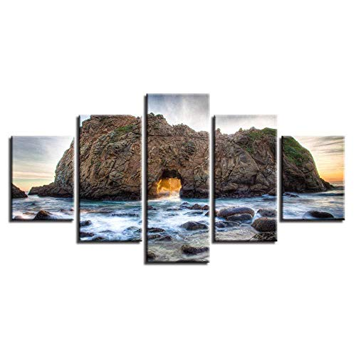 WRZWRM Poster leinwand malerei 5 bild 5 5 stücke riff stein natürliche seascape malerei hd druck kunst wohnzimmer wand dekoration