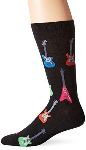 Hot Sox Men's Conversation Starter Novelty Casual Fashion Socks, Electric Guitars (Black), Shoe Size: 6-12