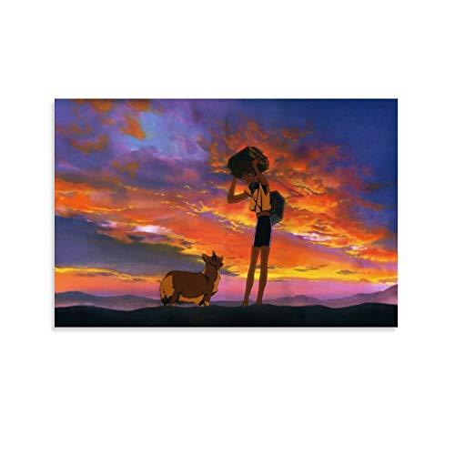 DENGHOU Cowboy Bebop Ein's Corgi Poster decorativo su tela da parete per soggiorno, camera da letto, 20 x 30 cm