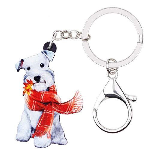 DdA8yonH Schlüsselbund Acryl Cute Schal Schnauzer Terrier Hund Schlüsselanhänger Schlüsselanhänger Tier Schmuck für Frauen Mädchen Damen Handtasche CharmsKid