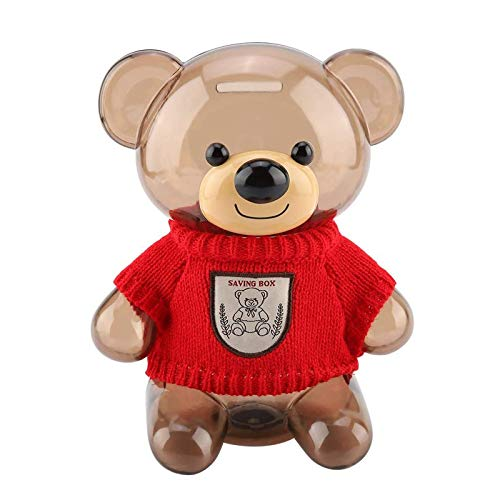 Kids Coin Bank, Bear Clear Plastic Large Capacity Money Banks with Opening, Money Box Gifts for Kids,Transparent Coin Saving Box (Red)