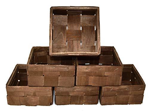 Lashuma Braunes 6er Korbset Leerer Füllkörbchen, Quadratische Bambuskörbe 15 x 15 cm Tiefe 8 cm, Geschenkkörbe Geflochten Farbe: Braun