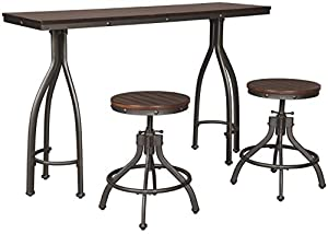 Signature Design by Ashley Odium Counter Height Dining Room Table and Bar Stools (Set of 3), Rustic Brown