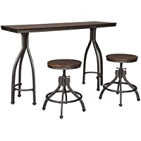 Signature Design by Ashley Odium Dining Table with 2 Stools