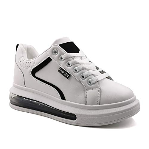 Angkorly - Damen Schuhe Sneakers - Turnschuhe - Bequeme - Sneaker Sohle - Sportwear - glattes Leder - Perforiert - Fertig Steppnähte Flache 4 cm - Schwarz GG561 T 37