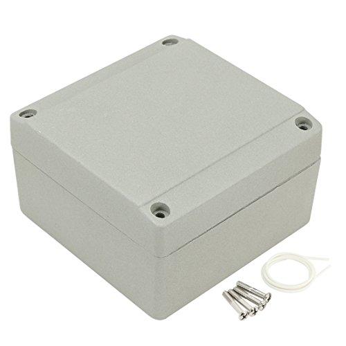 Aexit 3.9' 'x3.9' 'x2.3' '(100 mm x 100 mm x 60 mm) Aluminium Verteilerkasten Universelles elektrisches Projektgehäuse mit zwei Hörnern (04b9d47b20fbde4c817c54ac6c5edc7b)